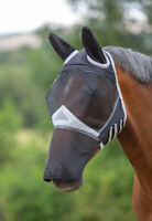 Shires Fine Mesh Fly Mask with Ears & Nose in Black, 5 Sizes, UV Protection.