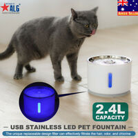 USB LED Automatic Electric 2.4L Cat Dog Pet Water Fountain DrinkIng Bowl /filter