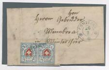Svizzera 1851 Rayon I 5 rappen coppia su letterina con annullo azzurro N2145
