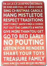 Christmas Rules Large Red hanging Wall Art Wooden Sign Xmas Gift or Decoration