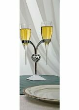 Silver Raindrop Stem Wedding Toasting Glasses Champagne Flutes w/Heart Stand