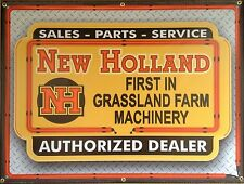 NEW HOLLAND FARM TRACTOR DEALER NEON STYLE PRINTED BANNER SIGN RETRO ART 4 X 3