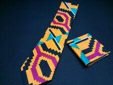 tie kente cloth pattern cotton black,yellow,teal,maroon, white ,new