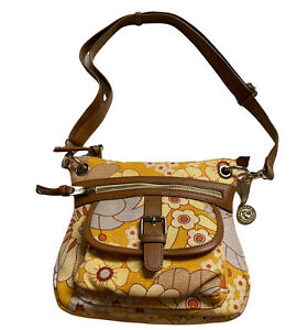 Spartina 449 Daufuskie Island Linen/Leather Hipster Crossbody Purse Bag Floral