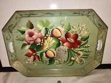 """Rare Old TURQUOISE TOLE CHIPPENDALE TRAY HandPainted Floral & Fruits 22""""x16"""""""