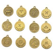 12PCS ANTIQUE BRONZE HOROSCOPE Zodiac STAR SIGN Pendant Charm Jewelry MAKING