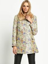 Love Lablel Jacquard Floral Print Coat With Fur Size 10