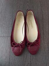 100% AUTHENTIC CHANEL RED VELVET BALLERINA BALLET BOW FLATS 36.5C