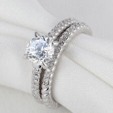 Round Aaa Cz White Gold Sz 9 Newshe Wedding Engagement Ring Set For Women 1.5ct