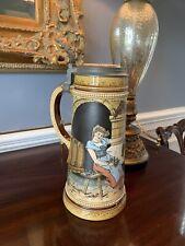 "New listing Mettlach 2780 ""Lovers"" 1 Liter Antique German Beer Stein Mint 1895-1905"