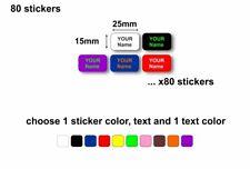 80x adhesive labels sticker personalised kids school name school waterproof