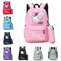 Backyard Cute Cat Backpack Girl Student School Bookbag+Pencil Case Shoulder Bag