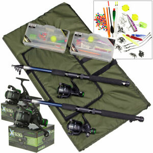 Telescopic Fishing Rod & Reel Set Fishing Lures Hooks Floats Shot Tackle Boxes