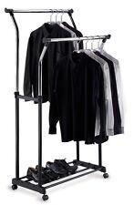 2 Bar Clothes Hanger Holder Stand w/ Shoe Storage Organizer Hanging Rod Cart New