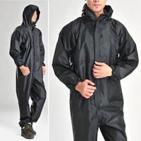 Black Motorcycle Rain Suit Raincoat Overalls Waterproof Men's Work One-piece New