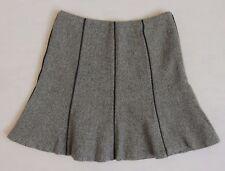 $198 Ralph Lauren Flounce-Bottom Wool Faux Leather A-Line Dress-Casual Skirt 8 P