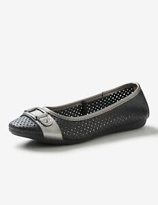 NEW Womens Rivers Leathersoft Trim Ballet | Casual Footwear Shoes
