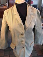 Orvis Women's Medium Khaki Safari Field Hunting Jacket Leather Elbow Patches