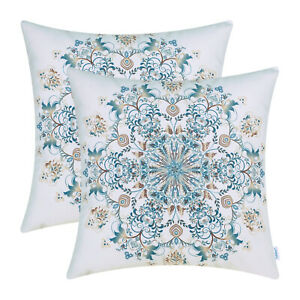 """2Pcs Teal Brown Coffee Cushion Covers Pillow Shell Snowflake Floral Decor 18x18"""""""