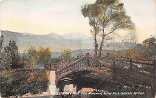 COLORADO SPRINGS VISTA OF PIKES PEAK FROM MONUMENT VALLEY PARK POSTCARD 1909