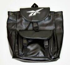 90s Reebok Classic Backpack Rucksack Drawstring Bag Black Leather Vintage RARE