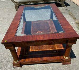 Wood and Glass Coffee Table with Wood Inlay