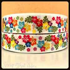 "Tropical FLOWERS Ribbon. 1"" Grosgrain. HIBISCUS. Scrapbooking/Craft. Island Luau"