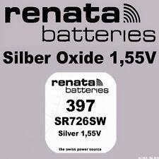 1x Renata Uhren Batterie Knopfzelle 397 SR726SW AG2 Silberoxid Neu Blisterware