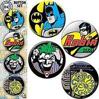 Batman strip of 4 round pin badges (cv)