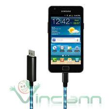 Cavo dati luminoso micro usb per Samsung Galaxy Duos S7562 Note 2 N7100