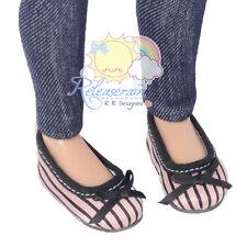"Pink/Black Stripes Satin Ribbon Ballet Pumps Shoes for 14"" Kish/17"" Goodreau BJD"
