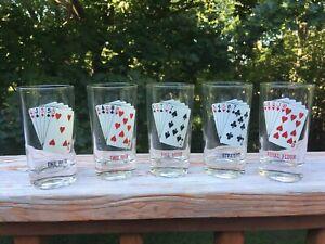 Set of 5 Vintage Mid Century Modern Playing Card Glass Tumblers Poker Bar