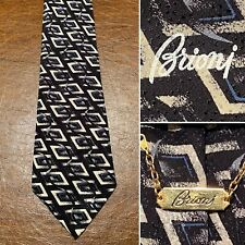 Authentic BRIONI Black Gray Geometric Pattern 100% Silk Wide Tie Necktie ITALY