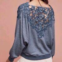 MEADOW RUE Anthropologie Blue Lace Back Bria Sweatshirt Top ~ Women's S