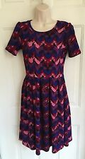 Lularoe Amelia Pocket Dress Sz Small Purple Blue Black Burgundy Chevron Zig Zag