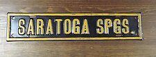 HTF Vintage Saratoga NY Porcelain Sign License Plate Topper Road Sign RARE Tin