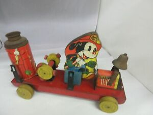 VINTAGE THE GONG BELL CO FIREMAN TRIX 403 MICKEY MOUSE DISNEY PULL TOY  951