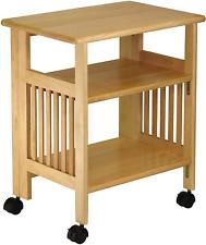 Kitchen Storage Wood Table Cart Microwave Printer Shelf Stand Folding Portable