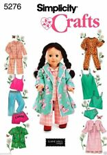 Sewing PATTERN for 18in doll Robe PJs casual clothes Simplicity 5276 sweats