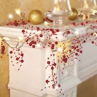 10 Foot Lighted Red Berry-Beaded Cordless Holiday Christmas Garland