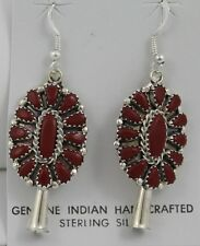 Navajo Indian Earrings Coral Petit Point Dangles Sterling Silver Leander Nez