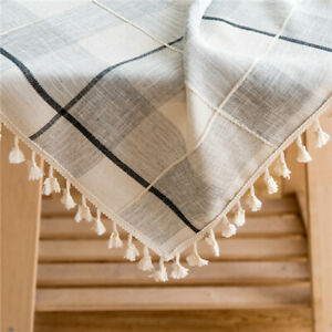 Plain Checkered Tablecloth Cotton Linen with Tassel Gray Table Cloth Cover Decor
