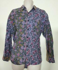 Fantastic Vintage LE SHARK Purple Flowery Long sleeve Shirt Medium - Very Rare