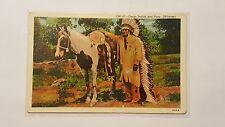 Postcard Indian & Pony in Oklahoma Native Americans in America