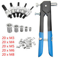 106PCS Set Blind THREADED NUT RIVET INSERT TOOL GUN RIV NUT RIVET M3-M8