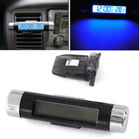 Mini Car Air Vent Clip/Stick On Electronic Clock Thermometer Digital LCD Display