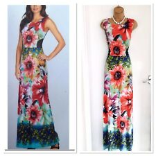 Stunning FRANK LYMAN Floral/ Mesh Trim/ Stretchy/ Jersey Maxi Dress Uk 10