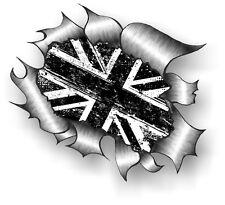 Clásico rasgada abierto Rasgado Metálica de extracción y Blanco y Negro Mod Grunge Union Jack Bandera Pegatina de Coche
