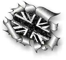 CLASSIC Ripped Open Torn Metal Rip & B&W MOD Grunge Union Jack Flag car sticker