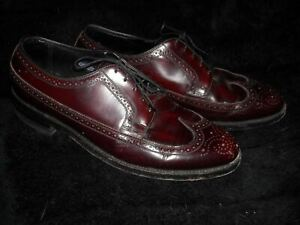 VTG 50S MENS 10 MAROON LEATHER WINGTIP FLORSHEIM BROGUE OXFORD SHOES